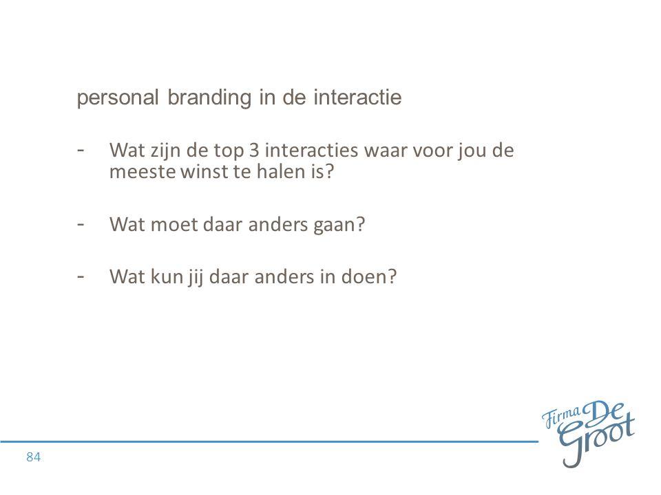 personal branding in de interactie - Wat zijn de top 3 interacties waar voor jou de meeste winst te halen is.
