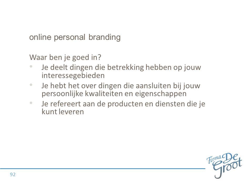 online personal branding Waar ben je goed in.