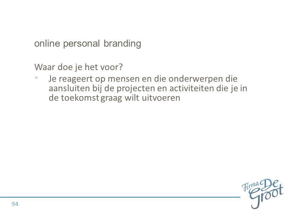 online personal branding Waar doe je het voor.