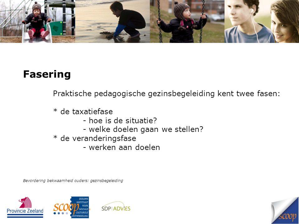 Fasering Praktische pedagogische gezinsbegeleiding kent twee fasen: * de taxatiefase - hoe is de situatie.