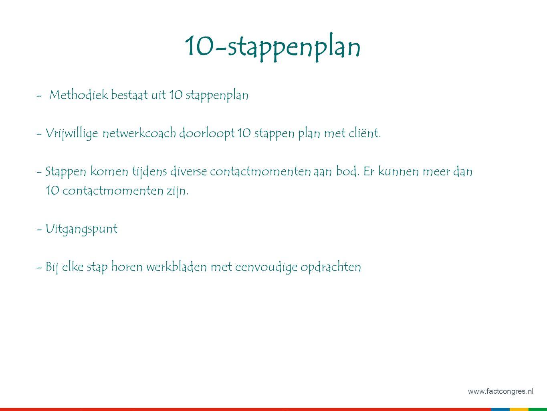 www.factcongres.nl 10-stappenplan - Methodiek bestaat uit 10 stappenplan - Vrijwillige netwerkcoach doorloopt 10 stappen plan met cliënt.