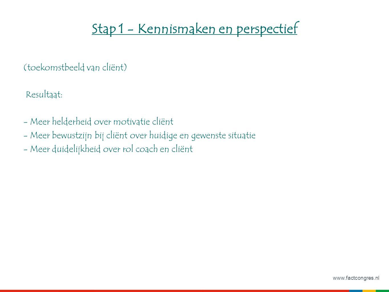 www.factcongres.nl Stap 1 - Kennismaken en perspectief (toekomstbeeld van cliënt) Resultaat: - Meer helderheid over motivatie cliënt - Meer bewustzijn bij cliënt over huidige en gewenste situatie - Meer duidelijkheid over rol coach en cliënt