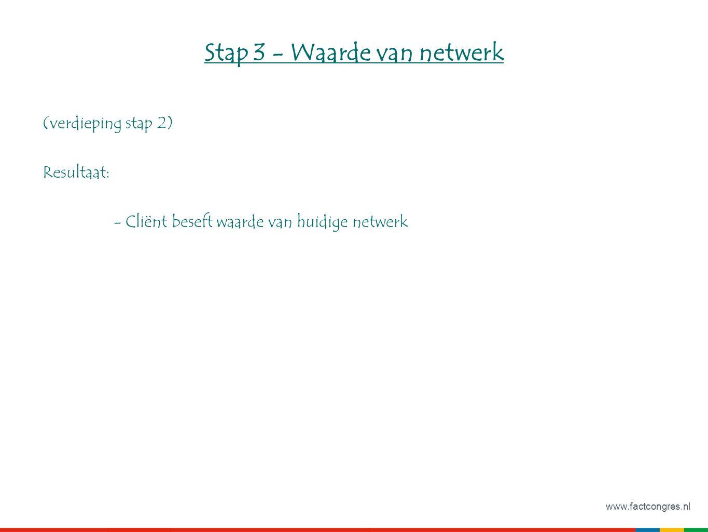 www.factcongres.nl Stap 3 - Waarde van netwerk (verdieping stap 2) Resultaat: - Cliënt beseft waarde van huidige netwerk