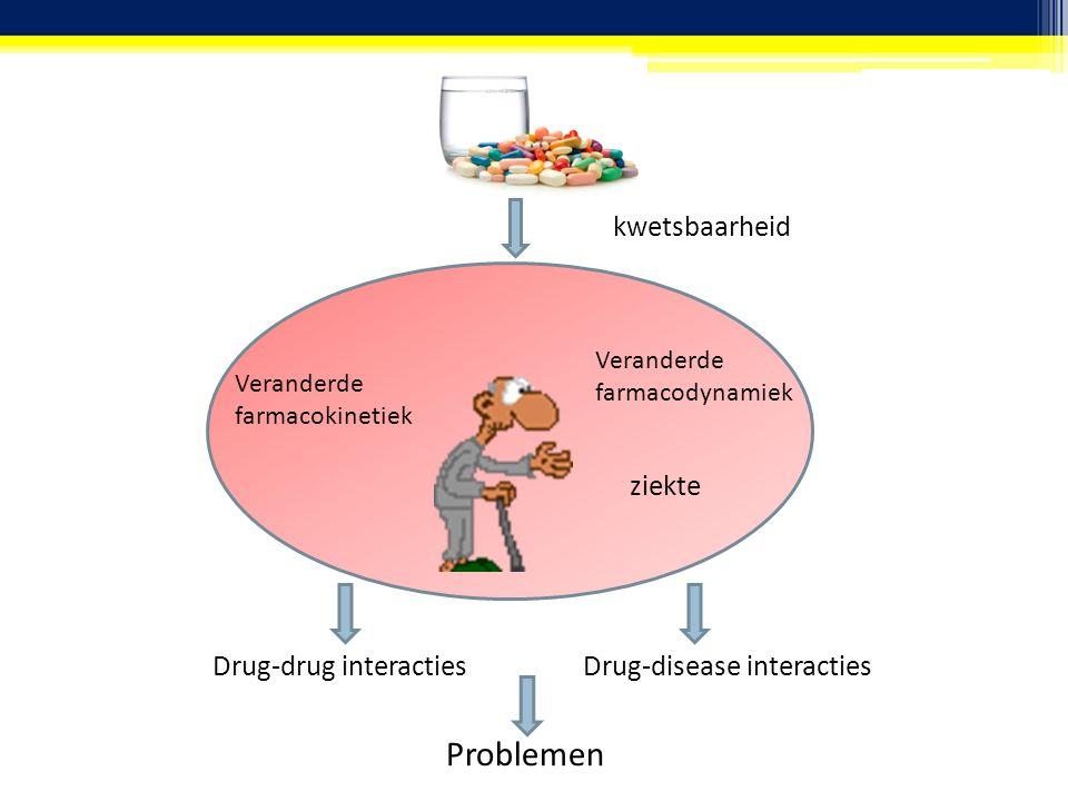 Veranderde farmacokinetiek Veranderde farmacodynamiek kwetsbaarheid ziekte Drug-drug interactiesDrug-disease interacties Problemen