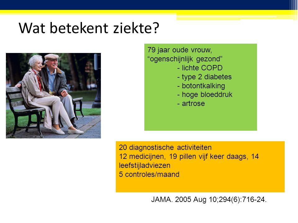 """Wat betekent ziekte? 79 jaar oude vrouw, """"ogenschijnlijk gezond"""" - lichte COPD - type 2 diabetes - botontkalking - hoge bloeddruk - artrose 20 diagnos"""
