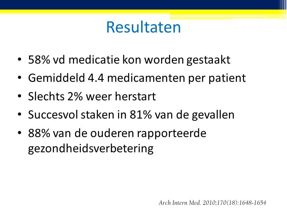 Resultaten 58% vd medicatie kon worden gestaakt Gemiddeld 4.4 medicamenten per patient Slechts 2% weer herstart Succesvol staken in 81% van de gevalle