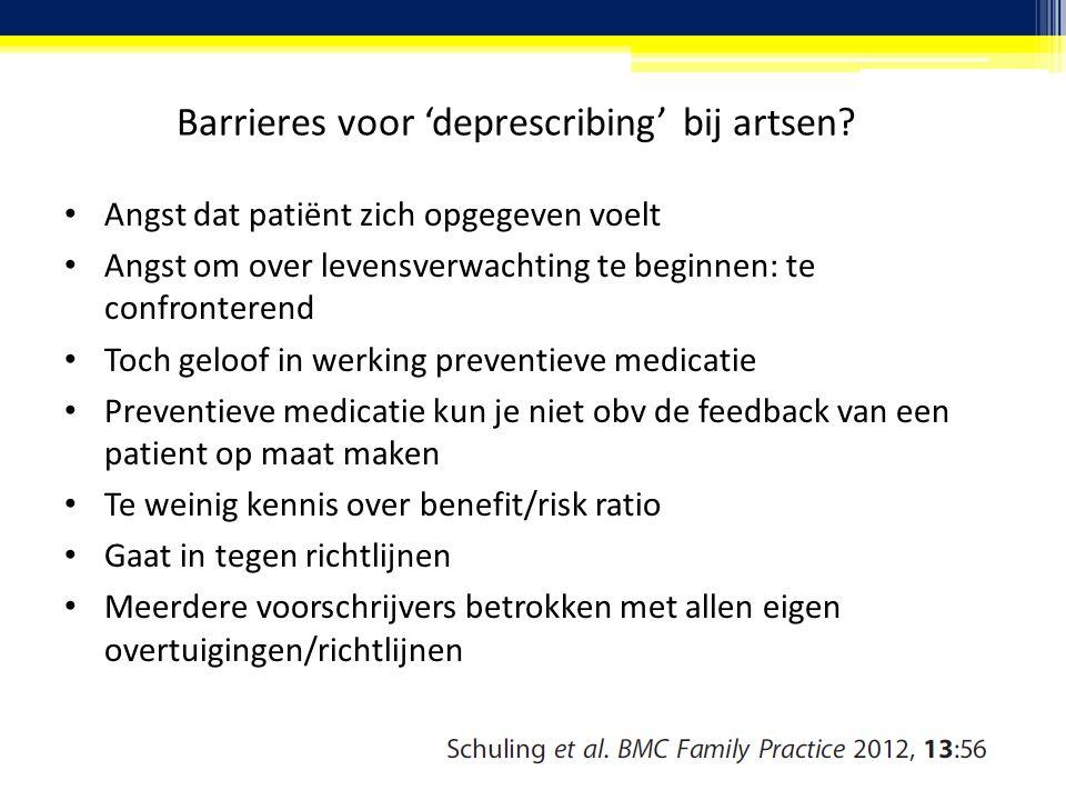 Barrieres voor 'deprescribing' bij artsen? Angst dat patiënt zich opgegeven voelt Angst om over levensverwachting te beginnen: te confronterend Toch g