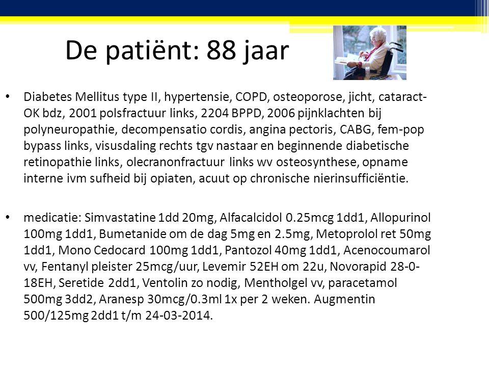 De patiënt: 88 jaar Diabetes Mellitus type II, hypertensie, COPD, osteoporose, jicht, cataract- OK bdz, 2001 polsfractuur links, 2204 BPPD, 2006 pijnklachten bij polyneuropathie, decompensatio cordis, angina pectoris, CABG, fem-pop bypass links, visusdaling rechts tgv nastaar en beginnende diabetische retinopathie links, olecranonfractuur links wv osteosynthese, opname interne ivm sufheid bij opiaten, acuut op chronische nierinsufficiëntie.