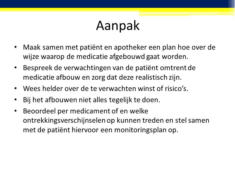 Aanpak Maak samen met patiënt en apotheker een plan hoe over de wijze waarop de medicatie afgebouwd gaat worden.