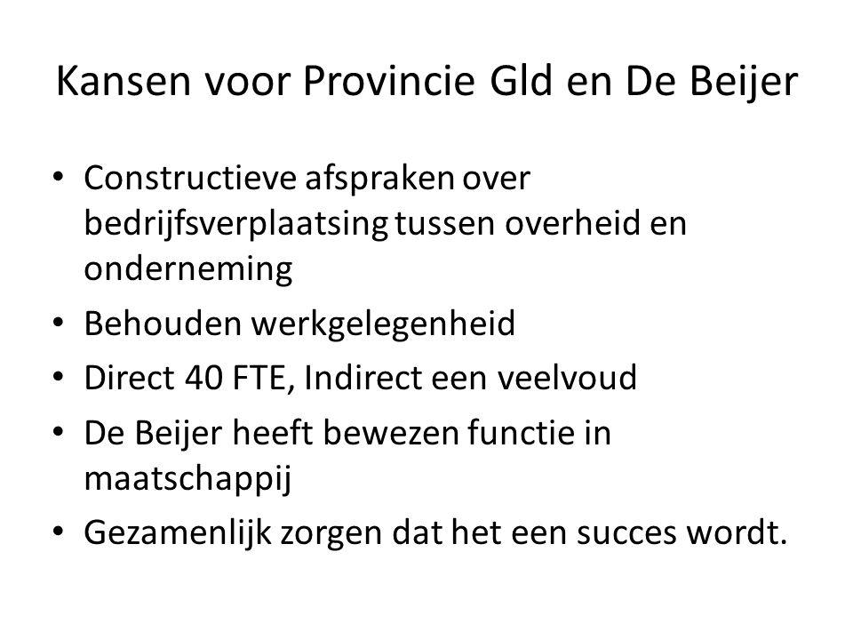 Kansen voor Provincie Gld en De Beijer Constructieve afspraken over bedrijfsverplaatsing tussen overheid en onderneming Behouden werkgelegenheid Direct 40 FTE, Indirect een veelvoud De Beijer heeft bewezen functie in maatschappij Gezamenlijk zorgen dat het een succes wordt.