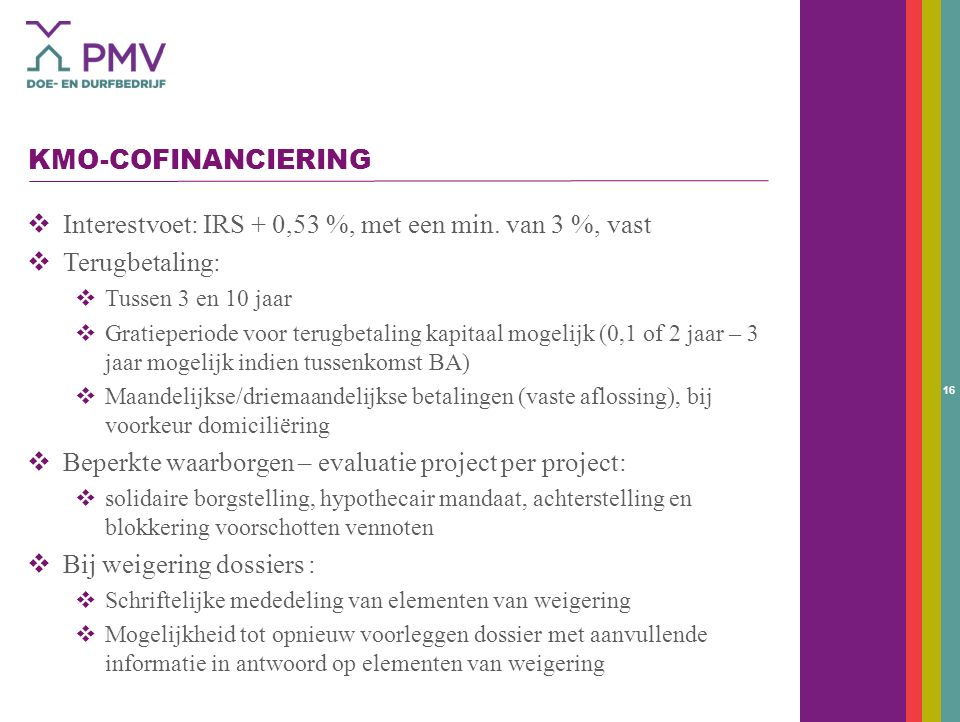 16 KMO-COFINANCIERING  Interestvoet: IRS + 0,53 %, met een min.