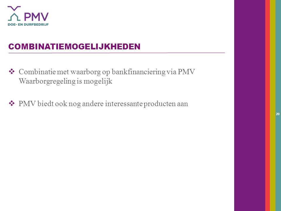 20 COMBINATIEMOGELIJKHEDEN  Combinatie met waarborg op bankfinanciering via PMV Waarborgregeling is mogelijk  PMV biedt ook nog andere interessante producten aan