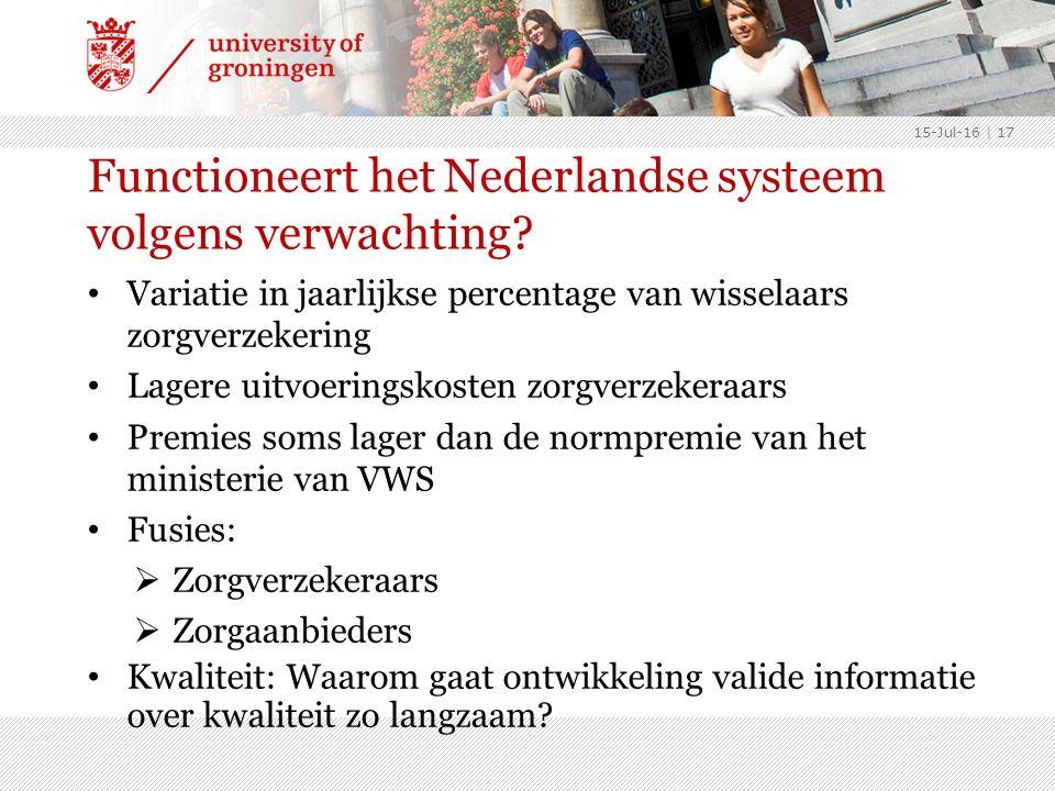 Functioneert het Nederlandse systeem volgens verwachting.