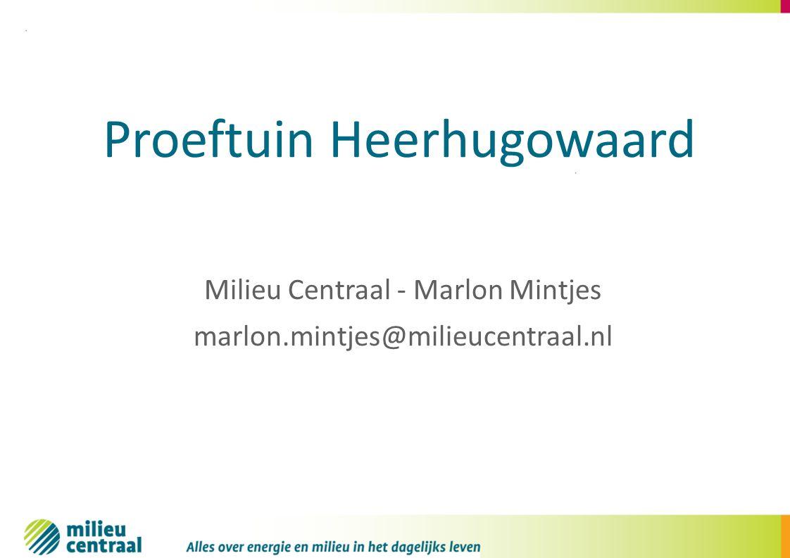 Milieu Centraal - Marlon Mintjes marlon.mintjes@milieucentraal.nl Proeftuin Heerhugowaard