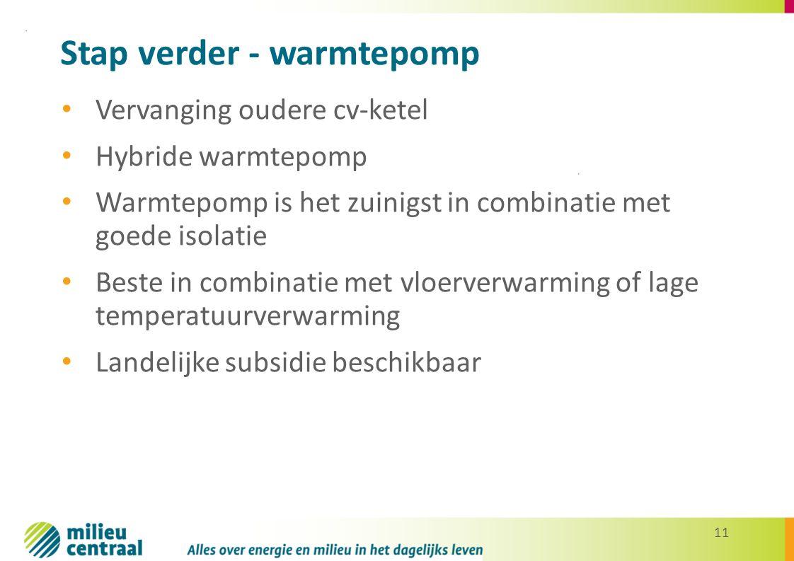 11 Stap verder - warmtepomp Vervanging oudere cv-ketel Hybride warmtepomp Warmtepomp is het zuinigst in combinatie met goede isolatie Beste in combinatie met vloerverwarming of lage temperatuurverwarming Landelijke subsidie beschikbaar