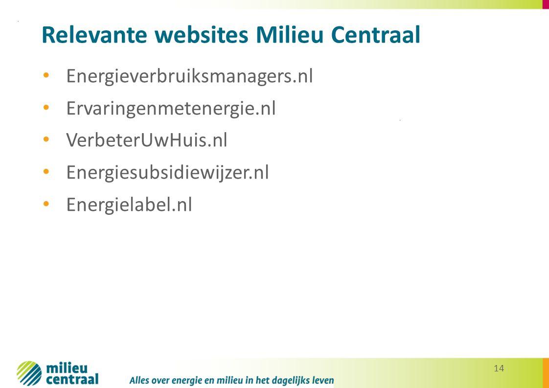 14 Relevante websites Milieu Centraal Energieverbruiksmanagers.nl Ervaringenmetenergie.nl VerbeterUwHuis.nl Energiesubsidiewijzer.nl Energielabel.nl