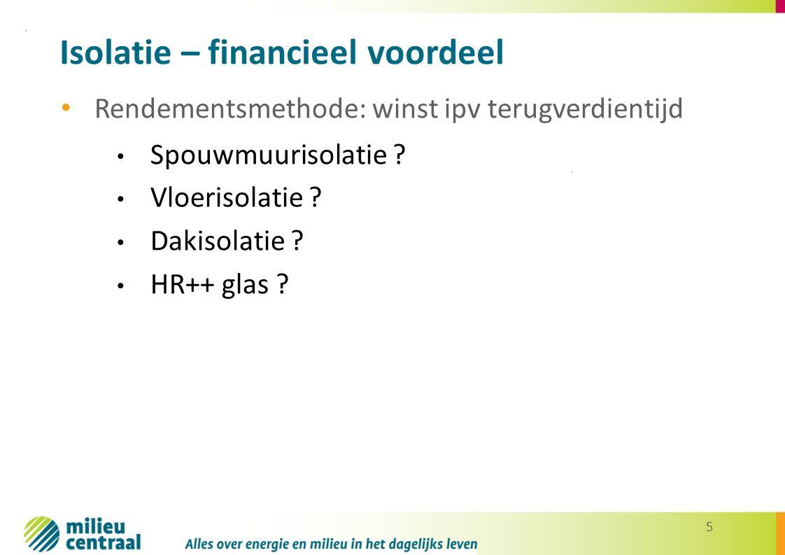 Rendementsmethode: winst ipv terugverdientijd Spouwmuurisolatie .