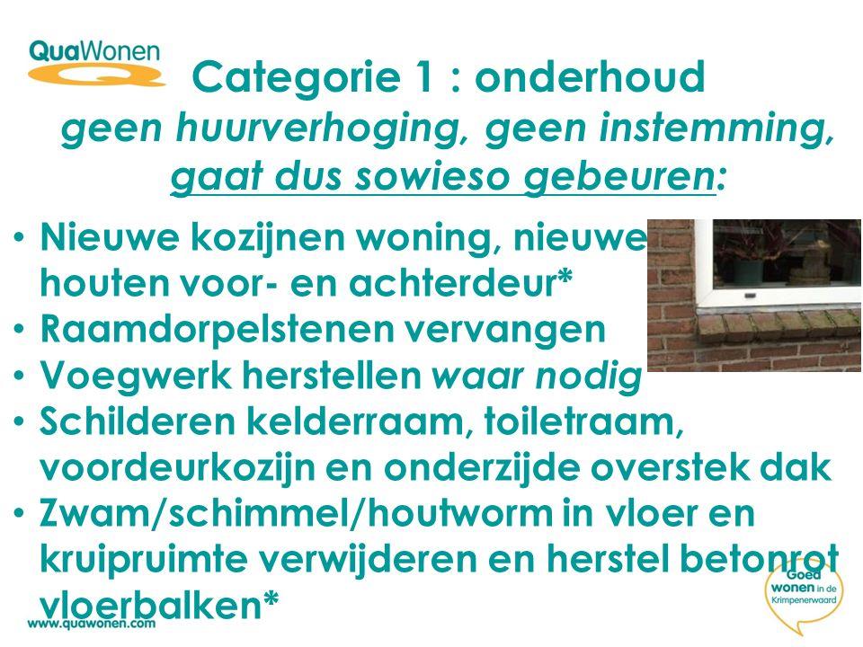 Categorie 1 : onderhoud geen huurverhoging, geen instemming, gaat dus sowieso gebeuren: Nieuwe kozijnen woning, nieuwe houten voor- en achterdeur* Raa