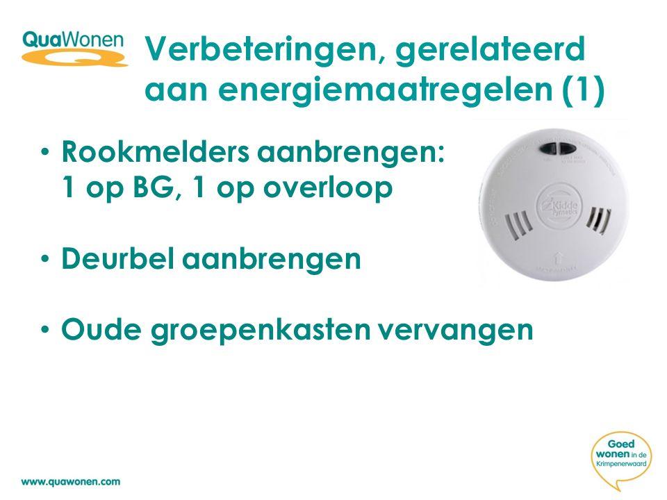Verbeteringen, gerelateerd aan energiemaatregelen (1) Rookmelders aanbrengen: 1 op BG, 1 op overloop Deurbel aanbrengen Oude groepenkasten vervangen
