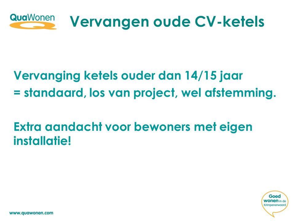 Vervangen oude CV-ketels Vervanging ketels ouder dan 14/15 jaar = standaard, los van project, wel afstemming. Extra aandacht voor bewoners met eigen i