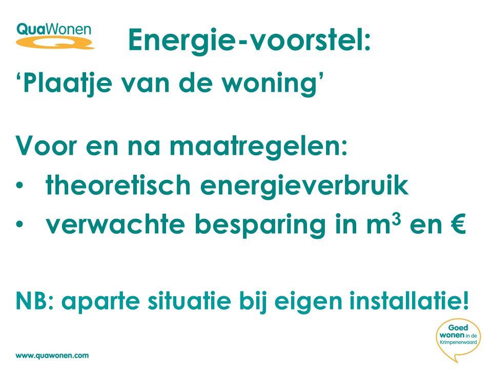 'Plaatje van de woning' Voor en na maatregelen: theoretisch energieverbruik verwachte besparing in m 3 en € NB: aparte situatie bij eigen installatie!