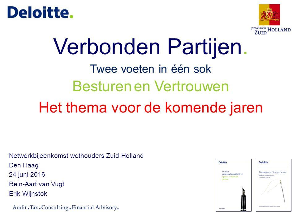 © 2016 Deloitte Verbonden partijen Zuid-Hollandse gemeenten (1) Onderzoek Deloitte (eind 2015) Onderzoek op basis van de paragraaf Verbonden partijen in de jaarrekening 2014 van de Zuid- Hollandse gemeenten (65).