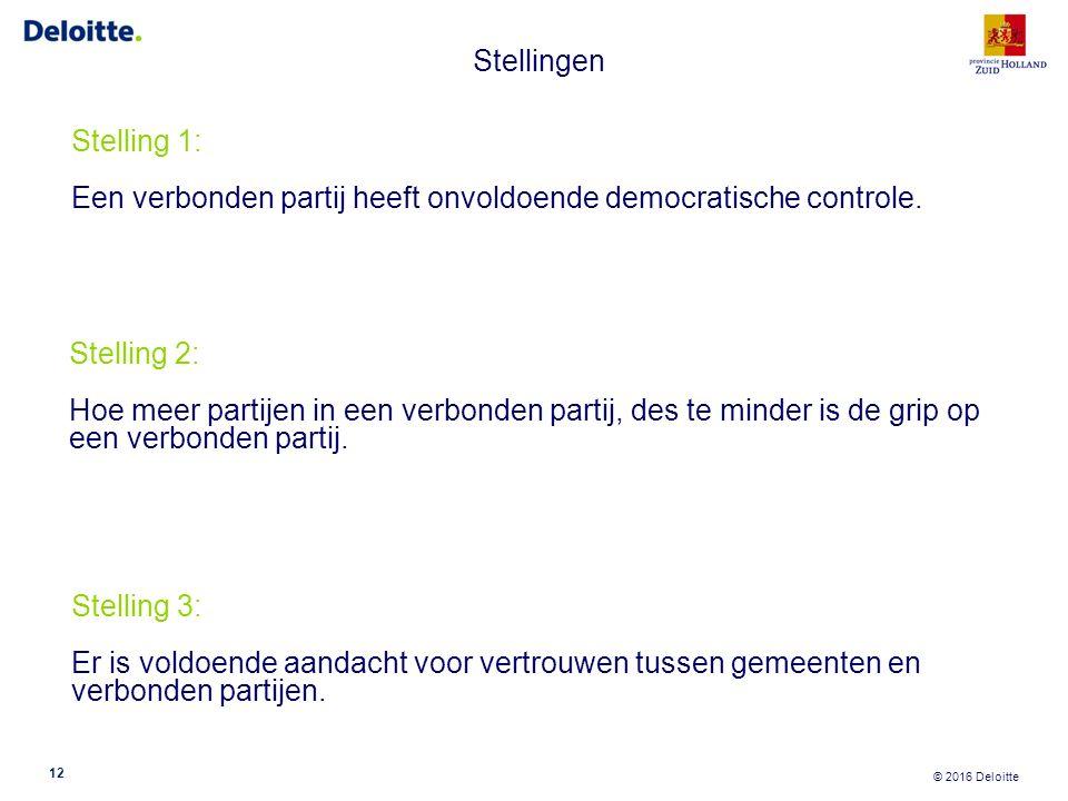 © 2016 Deloitte Stellingen 12 Stelling 1: Een verbonden partij heeft onvoldoende democratische controle. Stelling 2: Hoe meer partijen in een verbonde