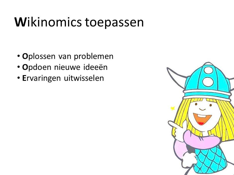 Wikinomics toepassen Oplossen van problemen Opdoen nieuwe ideeën Ervaringen uitwisselen