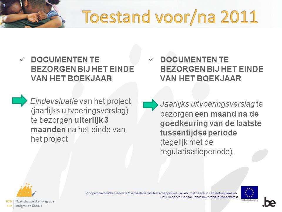 DOCUMENTEN TE BEZORGEN BIJ HET EINDE VAN HET BOEKJAAR Eindevaluatie van het project (jaarlijks uitvoeringsverslag) te bezorgen uiterlijk 3 maanden na het einde van het project DOCUMENTEN TE BEZORGEN BIJ HET EINDE VAN HET BOEKJAAR Jaarlijks uitvoeringsverslag te bezorgen een maand na de goedkeuring van de laatste tussentijdse periode (tegelijk met de regularisatieperiode).