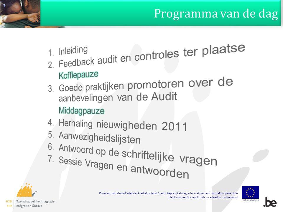 Programma van de dag Programmatorische Federale Overheidsdienst Maatschappelijke Integratie, met de steun van de Europese Unie Het Europees Sociaal Fonds investeert in uw toekomst