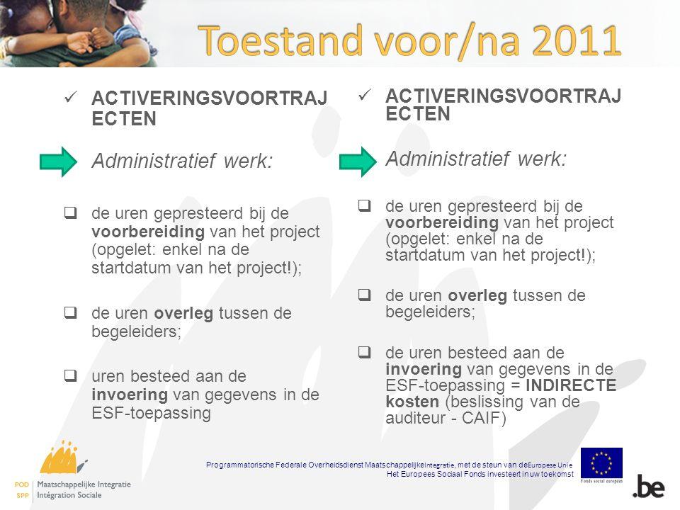 ACTIVERINGSVOORTRAJ ECTEN Administratief werk:  de uren gepresteerd bij de voorbereiding van het project (opgelet: enkel na de startdatum van het project!);  de uren overleg tussen de begeleiders;  uren besteed aan de invoering van gegevens in de ESF-toepassing ACTIVERINGSVOORTRAJ ECTEN Administratief werk:  de uren gepresteerd bij de voorbereiding van het project (opgelet: enkel na de startdatum van het project!);  de uren overleg tussen de begeleiders;  de uren besteed aan de invoering van gegevens in de ESF-toepassing = INDIRECTE kosten (beslissing van de auditeur - CAIF) Programmatorische Federale Overheidsdienst Maatschappelijke Integratie, met de steun van de Europese Unie Het Europees Sociaal Fonds investeert in uw toekomst