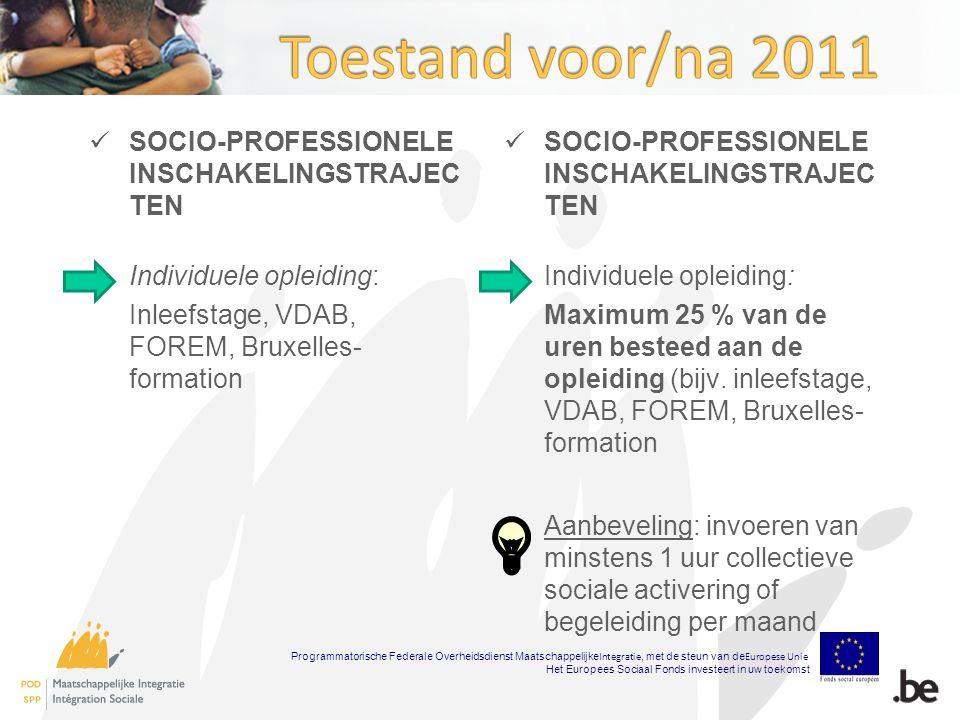 SOCIO-PROFESSIONELE INSCHAKELINGSTRAJEC TEN Individuele opleiding: Inleefstage, VDAB, FOREM, Bruxelles- formation SOCIO-PROFESSIONELE INSCHAKELINGSTRAJEC TEN Individuele opleiding: Maximum 25 % van de uren besteed aan de opleiding (bijv.