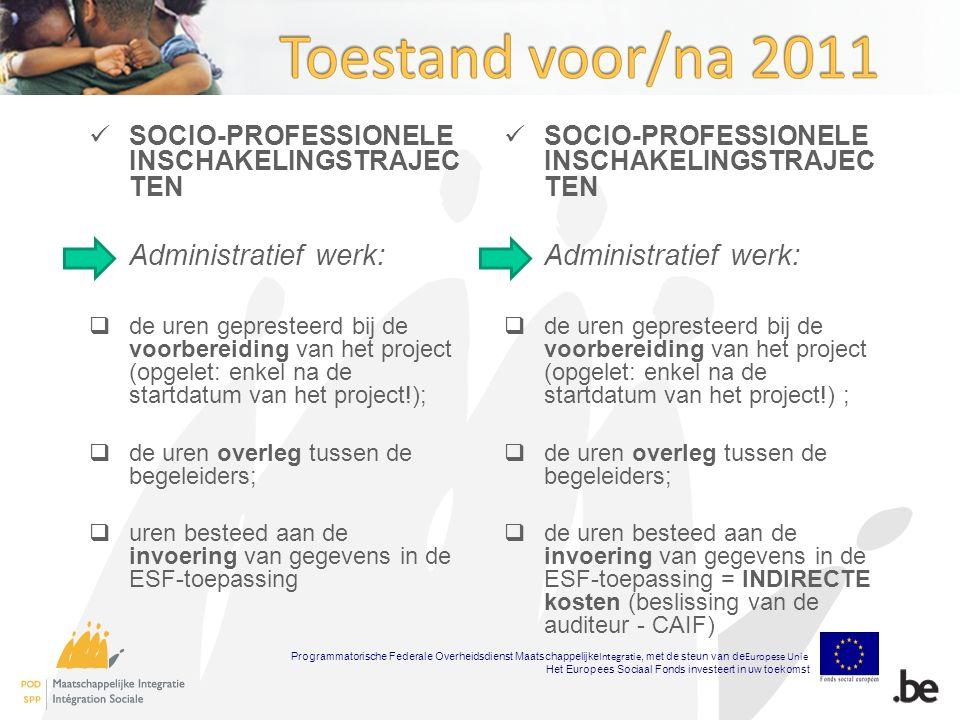 SOCIO-PROFESSIONELE INSCHAKELINGSTRAJEC TEN Administratief werk:  de uren gepresteerd bij de voorbereiding van het project (opgelet: enkel na de startdatum van het project!);  de uren overleg tussen de begeleiders;  uren besteed aan de invoering van gegevens in de ESF-toepassing SOCIO-PROFESSIONELE INSCHAKELINGSTRAJEC TEN Administratief werk:  de uren gepresteerd bij de voorbereiding van het project (opgelet: enkel na de startdatum van het project!) ;  de uren overleg tussen de begeleiders;  de uren besteed aan de invoering van gegevens in de ESF-toepassing = INDIRECTE kosten (beslissing van de auditeur - CAIF) Programmatorische Federale Overheidsdienst Maatschappelijke Integratie, met de steun van de Europese Unie Het Europees Sociaal Fonds investeert in uw toekomst