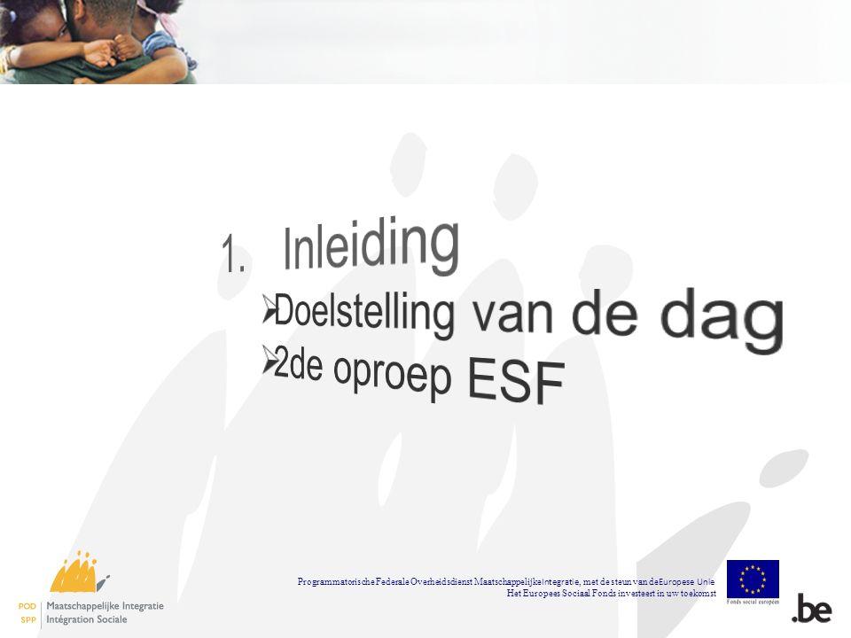 CPAS Saint-Josse-Ten- Noode Programmatorische Federale Overheidsdienst Maatschappelijke Integratie, met de steun van de Europese Unie Het Europees Sociaal Fonds investeert in uw toekomst
