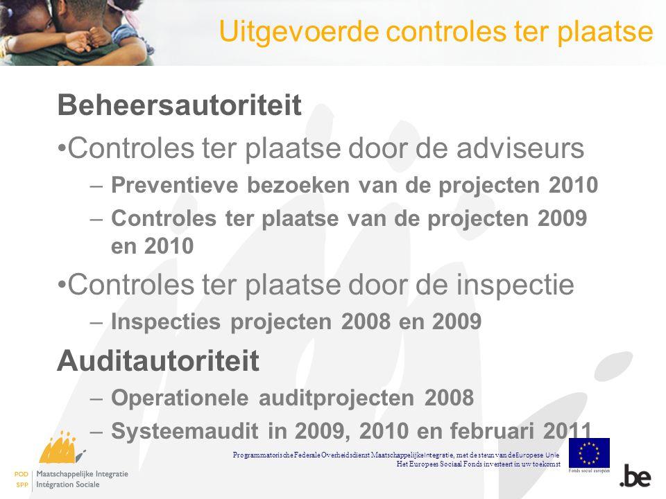 Gemelde problemen (1) De volgende problemen werden bij bepaalde promotoren gemeld: Dubbele subsidiëring Niet in aanmerking genomen ontvangsten Geen overeenkomst verhuis Programmatorische Federale Overheidsdienst Maatschappelijke Integratie, met de steun van de Europese Unie Het Europees Sociaal Fonds investeert in uw toekomst