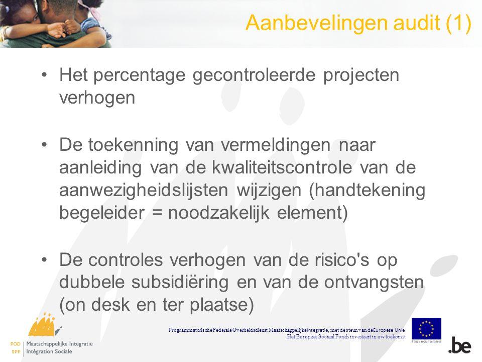 Aanbevelingen audit (1) Het percentage gecontroleerde projecten verhogen De toekenning van vermeldingen naar aanleiding van de kwaliteitscontrole van de aanwezigheidslijsten wijzigen (handtekening begeleider = noodzakelijk element) De controles verhogen van de risico s op dubbele subsidiëring en van de ontvangsten (on desk en ter plaatse) Programmatorische Federale Overheidsdienst Maatschappelijke Integratie, met de steun van de Europese Unie Het Europees Sociaal Fonds investeert in uw toekomst