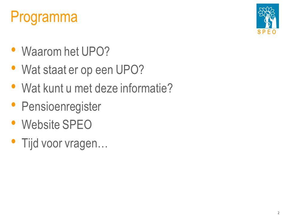 S P E O 2 Programma Waarom het UPO. Wat staat er op een UPO.