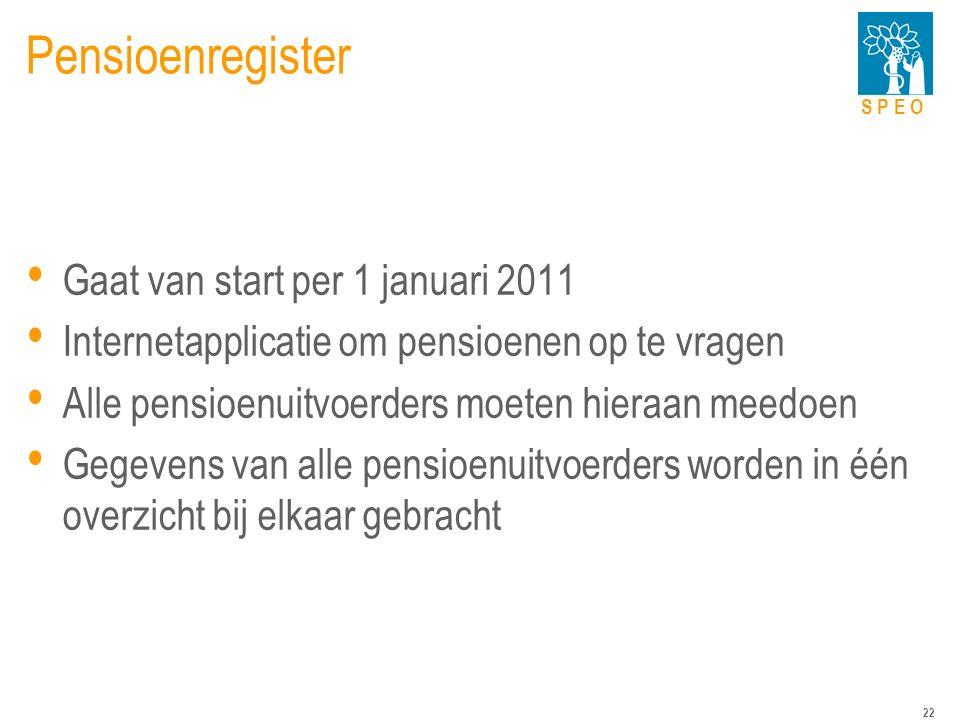 S P E O 22 Pensioenregister Gaat van start per 1 januari 2011 Internetapplicatie om pensioenen op te vragen Alle pensioenuitvoerders moeten hieraan meedoen Gegevens van alle pensioenuitvoerders worden in één overzicht bij elkaar gebracht