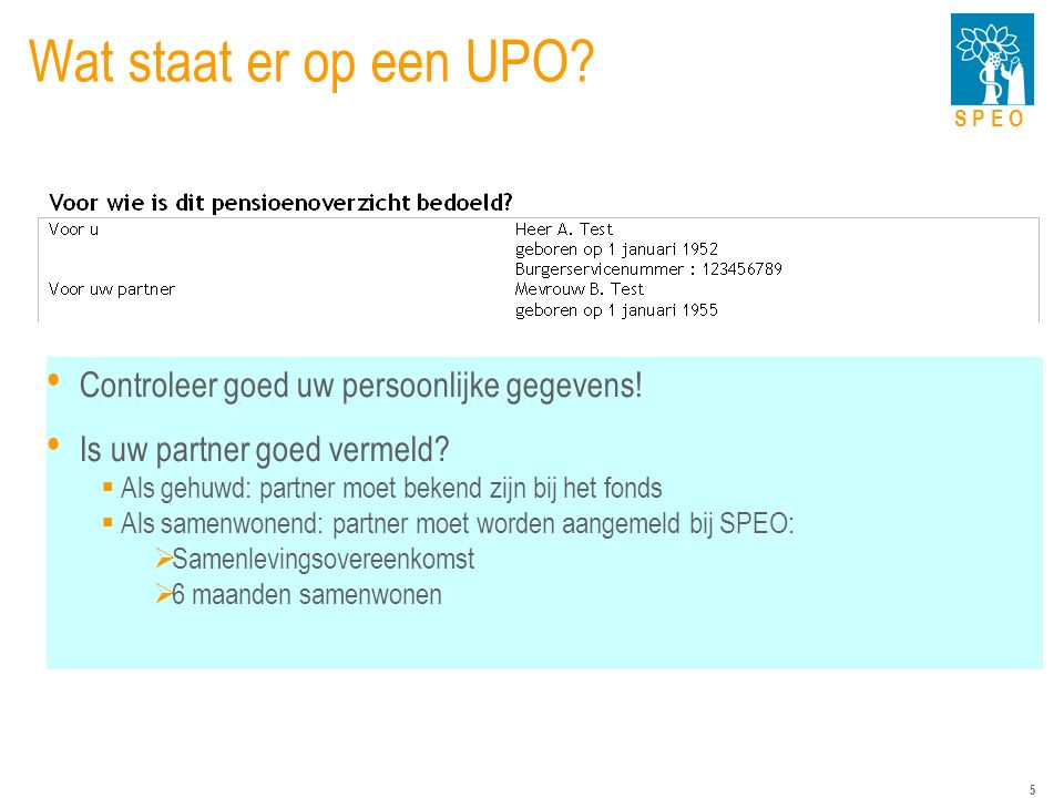 S P E O 5 Wat staat er op een UPO. Controleer goed uw persoonlijke gegevens.