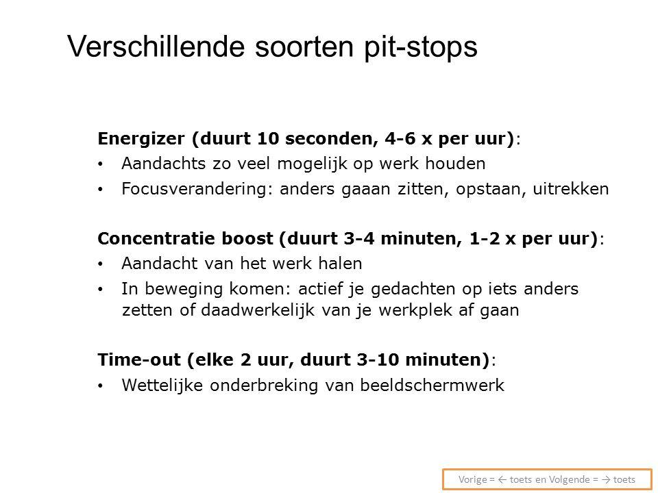 Verschillende soorten pit-stops Energizer (duurt 10 seconden, 4-6 x per uur): Aandachts zo veel mogelijk op werk houden Focusverandering: anders gaaan zitten, opstaan, uitrekken Concentratie boost (duurt 3-4 minuten, 1-2 x per uur): Aandacht van het werk halen In beweging komen: actief je gedachten op iets anders zetten of daadwerkelijk van je werkplek af gaan Time-out (elke 2 uur, duurt 3-10 minuten): Wettelijke onderbreking van beeldschermwerk Vorige = ← toets en Volgende = → toets