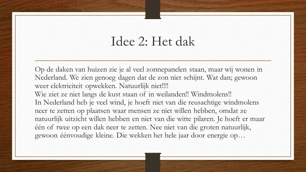 Idee 2: Het dak Op de daken van huizen zie je al veel zonnepanelen staan, maar wij wonen in Nederland.