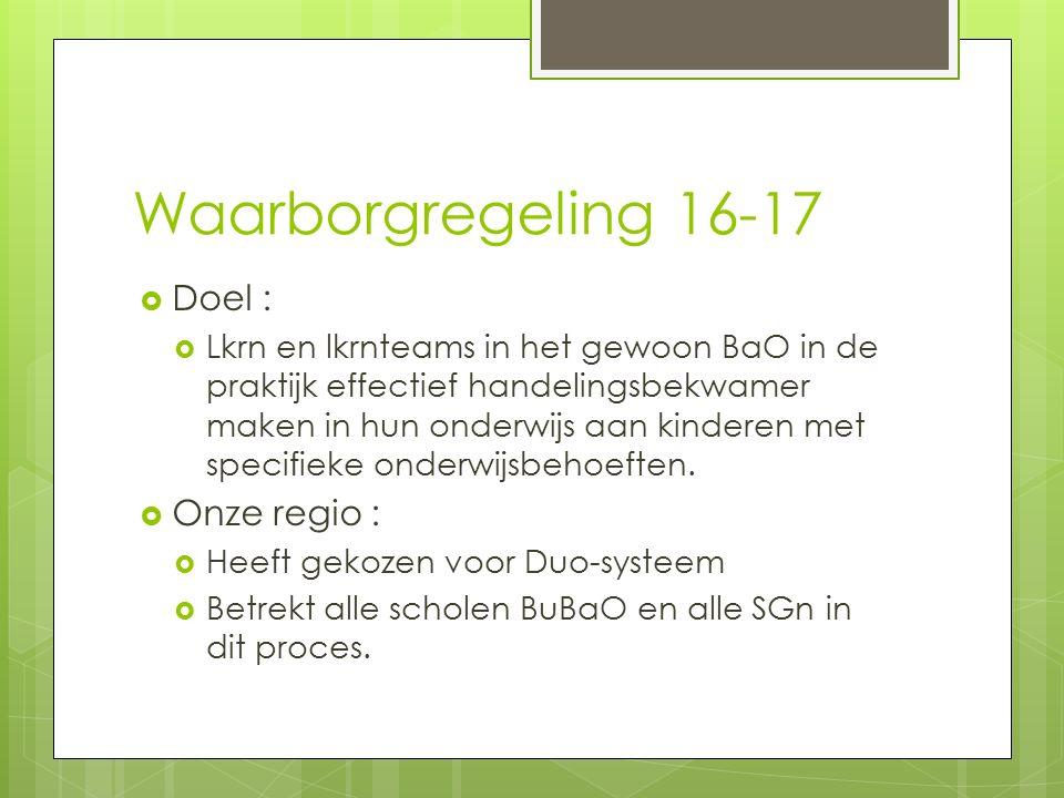Waarborgregeling 16-17  Doel :  Lkrn en lkrnteams in het gewoon BaO in de praktijk effectief handelingsbekwamer maken in hun onderwijs aan kinderen met specifieke onderwijsbehoeften.