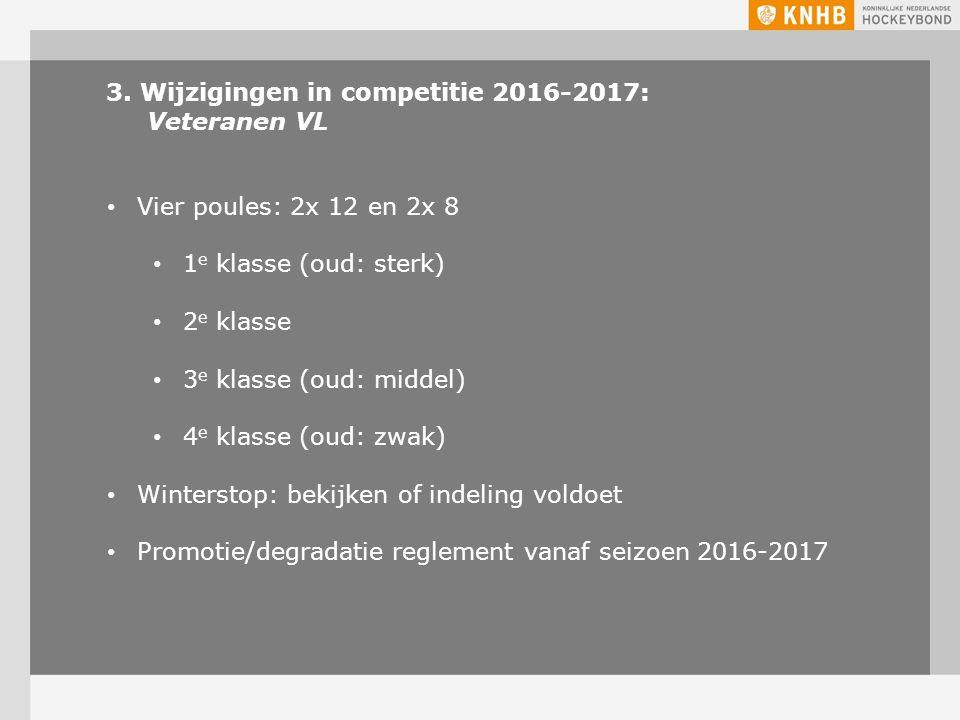 3. Wijzigingen in competitie 2016-2017: Veteranen VL Vier poules: 2x 12 en 2x 8 1 e klasse (oud: sterk) 2 e klasse 3 e klasse (oud: middel) 4 e klasse