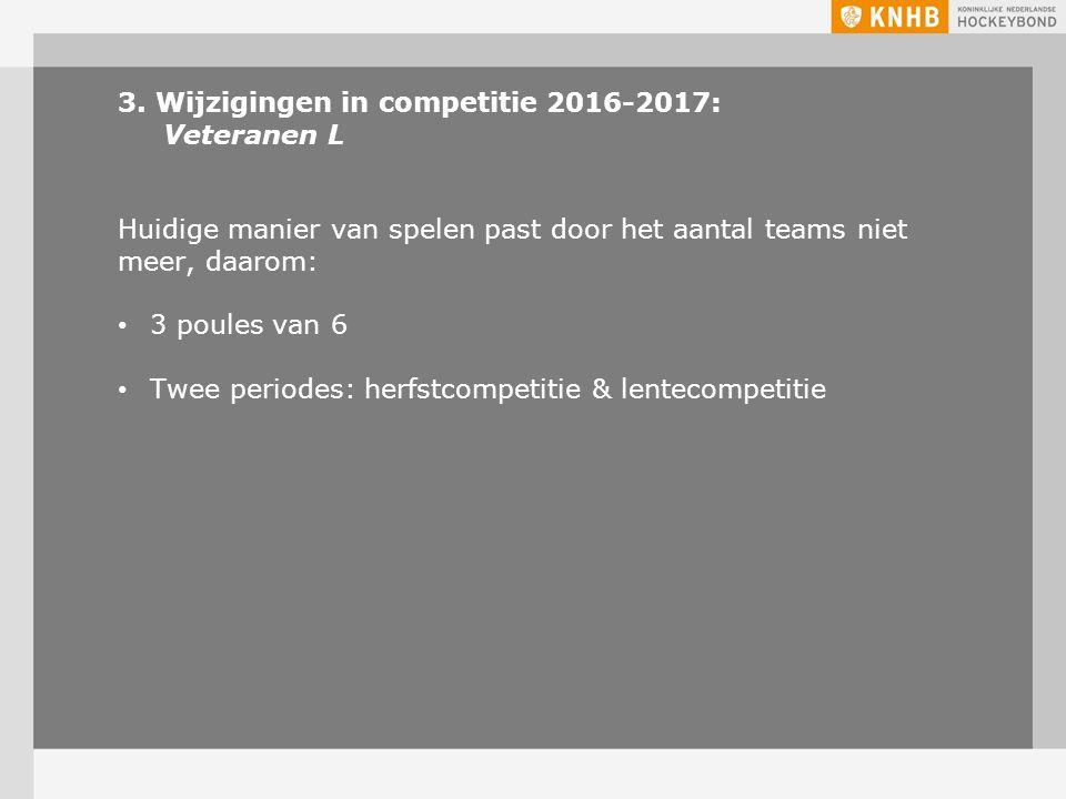 3. Wijzigingen in competitie 2016-2017: Veteranen L Huidige manier van spelen past door het aantal teams niet meer, daarom: 3 poules van 6 Twee period
