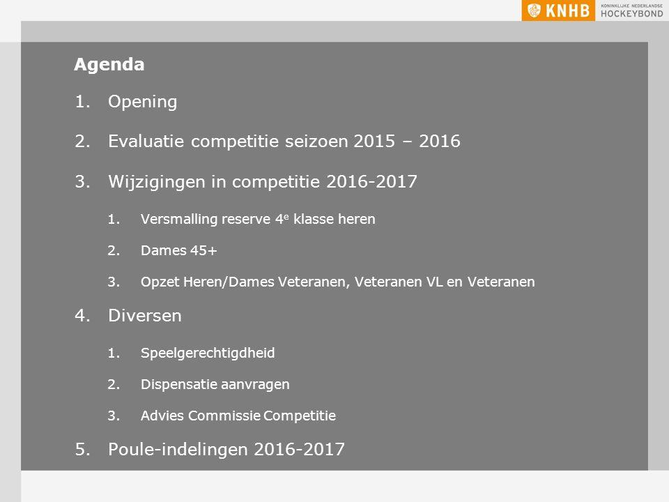 Agenda 1.Opening 2.Evaluatie competitie seizoen 2015 – 2016 3.Wijzigingen in competitie 2016-2017 1.Versmalling reserve 4 e klasse heren 2.Dames 45+ 3