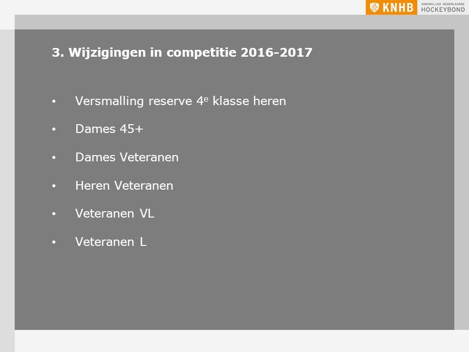 3. Wijzigingen in competitie 2016-2017 Versmalling reserve 4 e klasse heren Dames 45+ Dames Veteranen Heren Veteranen Veteranen VL Veteranen L