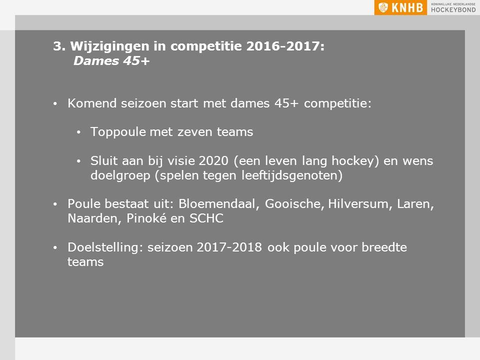 3. Wijzigingen in competitie 2016-2017: Dames 45+ Komend seizoen start met dames 45+ competitie: Toppoule met zeven teams Sluit aan bij visie 2020 (ee