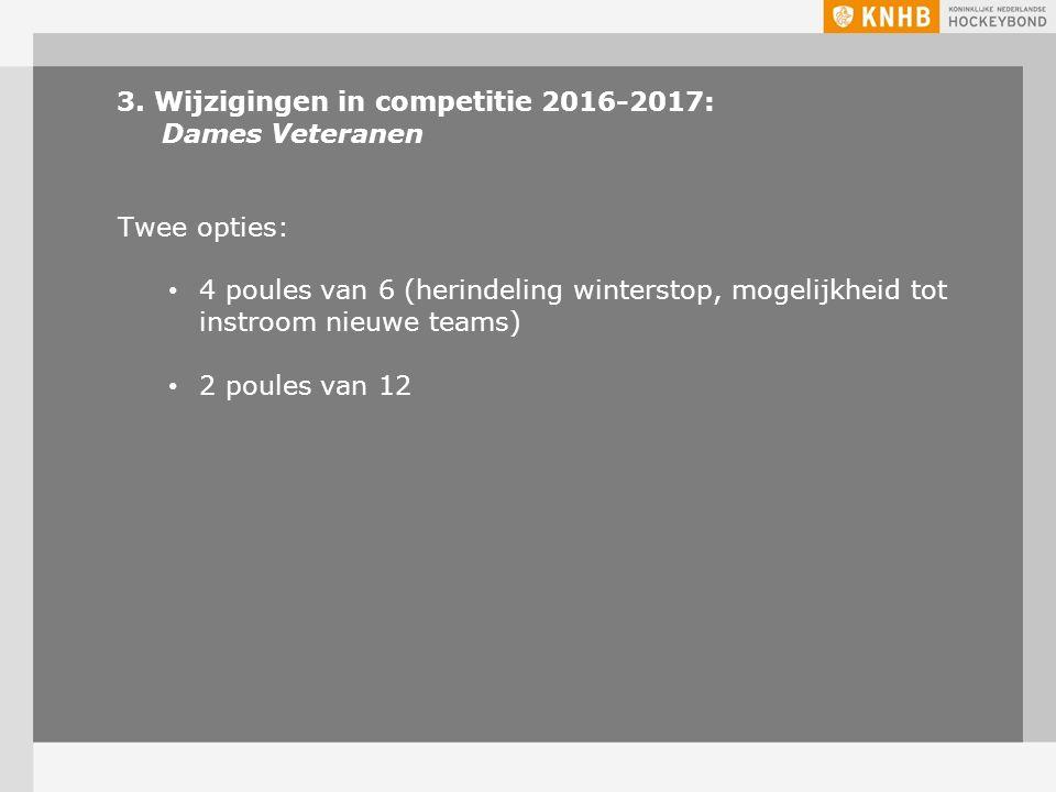 3. Wijzigingen in competitie 2016-2017: Dames Veteranen Twee opties: 4 poules van 6 (herindeling winterstop, mogelijkheid tot instroom nieuwe teams) 2