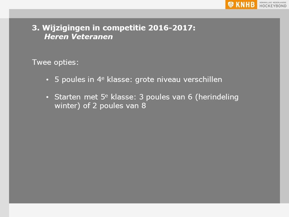 3. Wijzigingen in competitie 2016-2017: Heren Veteranen Twee opties: 5 poules in 4 e klasse: grote niveau verschillen Starten met 5 e klasse: 3 poules