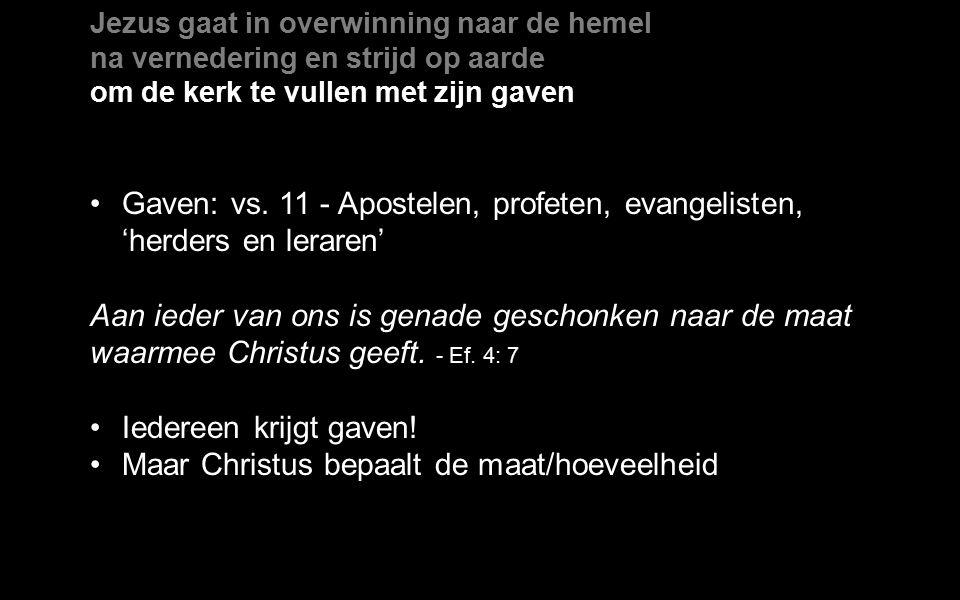 Jezus gaat in overwinning naar de hemel na vernedering en strijd op aarde om de kerk te vullen met zijn gaven Gaven: vs.